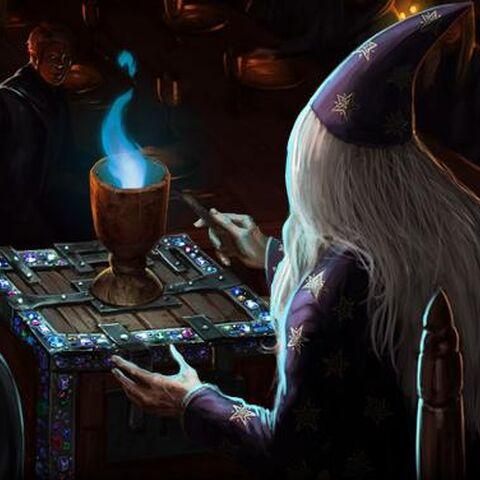 Дамблдор держит в руке пергамент с именем четвертого участника ТТВ — Гарри Поттера