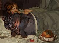 Grosse Dame et hippopotame