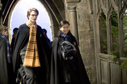 GOF HQ still Cedric Diggory and Cho Chang Hogwarts uniform
