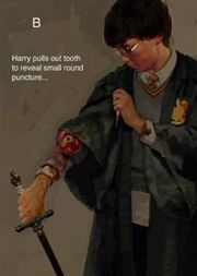 Harry's wound because of the bite of Slytherin's Basilisk 01