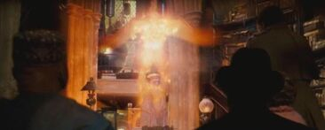 1000px---Albus Dumbledore-- using Fawkes to teleport away from --Cornelius Fudge-- and --Doleres Umbridge--