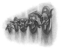 Cabeças de elfons no Largo Grimmauld, nº12