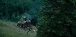 Hagrid's hut view from the stone circle