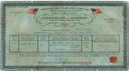 Credence Barebone's Adoption Certificate