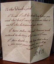 R.A.B. letter to the Dark Lord