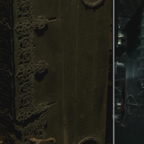 Слева — исчезательный шкаф в магазине «Горбин и Берк», справа — в Хогвартсе.