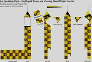 Quidditch Pitch - Hufflepuff Tower and Viewing Stand Drapes Layout