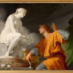 <i>«Пигмалион»</i><br />(картина Ж.-Б. Реньо)<br /><small><b>Галатея</b> ещё статуя</small>