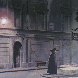 Волшебник на улице Чаринг-Кросс-Роуд возле книжного магазина «Charing Cross Books», который расположен через улицу от «Дырявого котла».