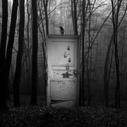 Door in woods creepy