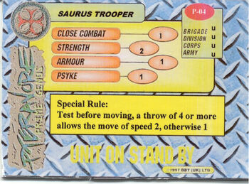 Saurus Trooper Card Rear