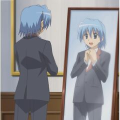 Hayate putting on his butler uniform (S1)