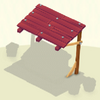 Awning Red Wooden