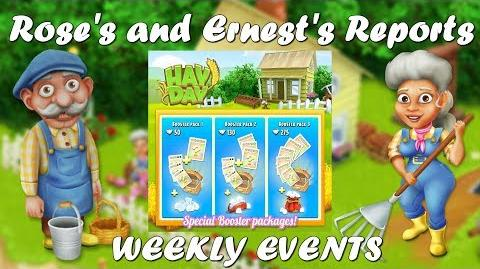 Hay Day Rose's and Ernest's Reports Booster Packs! Weekly Events!