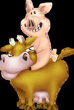 Schwein reitet Kuh