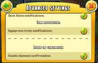 Advanced Settings Town and Double Tap