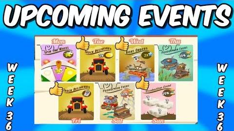 HAY DAY-UPCOMING EVENTS!! DOUBLE COIN TRUCKS!! DOUBLE XP BOATS!!