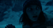 Dafne Keen in snow