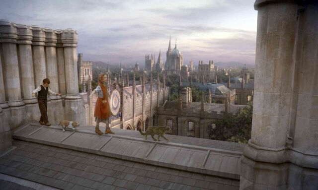 File:Roger and Lyra on the roof of Jordan College.jpg
