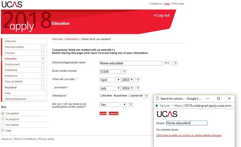 UCAS Home ed Find