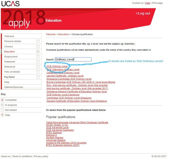 UCAS Qualifications O-levels