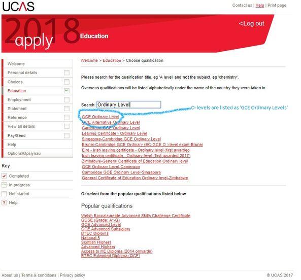 UCAS Qualifications O-levels