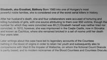 A brief historical description of Elizabeth Bathory