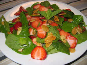 Spinach and Strawberry Salad with Butter Toasted Almonds