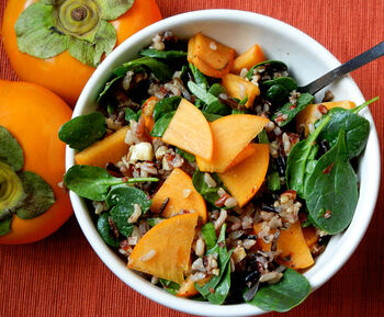 Recipe persimmon wild rice spinach salad featured