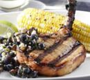 Teriyaki Pork Chops with a Blueberry and Ginger Relish