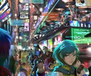 Cityscapes futuristic people buildings science fiction artwork anime desktop 877x1219 hd-wallpaper-862642