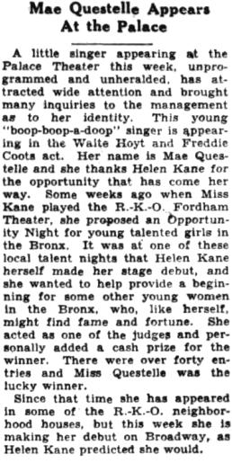 Mae Questel Palace Helen Kane 1930