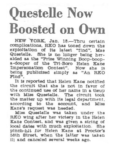 Helen Kane Upset 1930 Jealous of Mae Questel the Boop Boop a Doop Girl Becoming More Famous Than Her