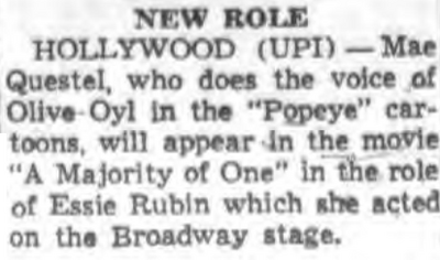 A Majority of One Mae Questel 1961