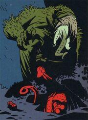 Frog monster vs Hellboy