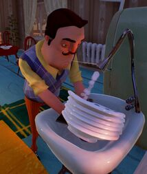 Сосед моет руки с помощью раковины