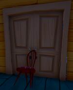 Chair-propped double door