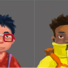 Old concept art for the kids. From Left to Right: Scout, Detective, Inventor, Bagger, Leader, Brave