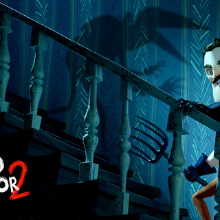 Screenshot of the Neighbor with a pitchfork in his hand as he climbs the stairs, and above is the shadow of the Guest.