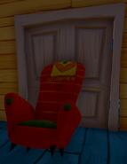 Armchair-propped double door