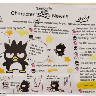 Badtz-Maru's official introduction in the Strawberry News in 1993 UNOFFICIAL TRANSLATION