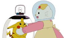 Mama Kitty meets Pikachu