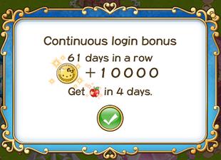 Login bonus day 61