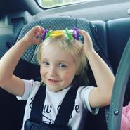 Kaitlyn in the car