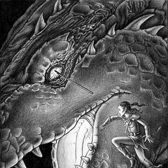 Illustration d'Arya tuant Shruikan par Cabral