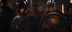 Soldats de l'Empire avec leurs boucliers