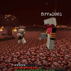Hypnotizd, XisumaVoid, Biffa2001 and TopMass collecting blaze rods to defeat the dragon in Season 1
