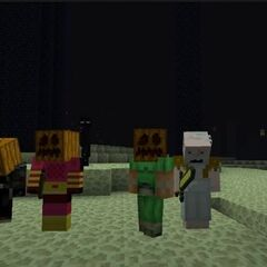 The team that killed the Ender Dragon in Season 1 (Biffa2001, Generikb, Hypnotizd, XisumaVoid)