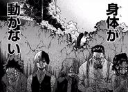 Izuku, Shoto, Eijiro, Tenya and Momo in fear