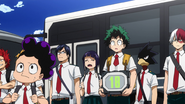 Class 1-A arrives at the exam centre